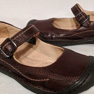 Keen Brown Leather Mary Jane Shoes Walking Flats